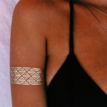 TribeTats Flash Tattoo Armbands | 4-Sheet Metallic Tattoo Set | Fold-and-Tear Sheets - No Scissors Required | Jewelry-Inspired Body Art Lasts 1 Week