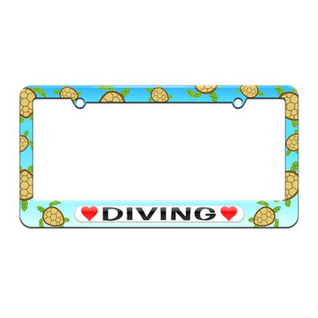 Diving Love with Hearts - License Plate Tag Frame - Sea Turtle Design