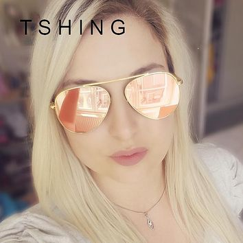 TSHING Women Rose Gold Mirror Retro Aviation Sunglasses Men Fashion Brand Designer Vintage Sun Glasses For Female Male Driving