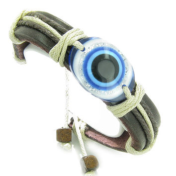 Amulet Leather Bracelet All Seeing Evil Eye Protection Symbol Lucky Charm