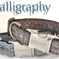 Calligraphy XS/S Brown on Blue Adjusable Leash Extender
