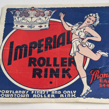 Vintage roller rink sticker decal Imperial Portland