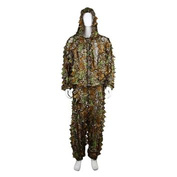 2PCS Breathable Hunting Clothes Leaves Camouflage Ghillie Suit Comfortable Men Women Outdoor Woodland Tactical Suit
