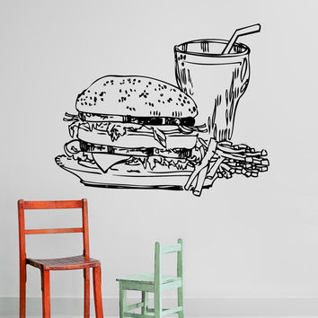 Vinyl Wall Decal Sticker Burger Meal Sketch #5310