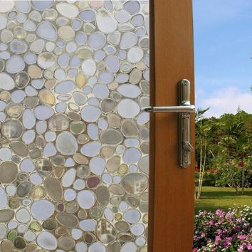 Liplasting 3D Self Adhesive Frosted Stained Sticker Glass Static  PVC Decorative Window Film Home Privacy Decor 100X45cm