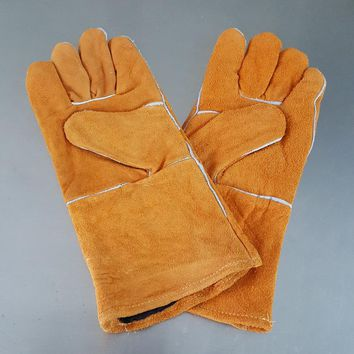 Welder Safety Gloves Workplace Safety Supplies Security&Protection Long leather gloves welding Protective gloves Wear-resistant