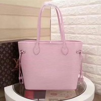 Kuyou Lv Louis Vuitton Gb29714 40882 Pink New Wave Epi Leather Neverfull Medium Handbag 32x29x17cm