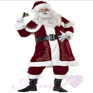 Mens Adult Santa Claus Father Christmas Costumes Suit Xmas Gift Uniform Outfit Cosplay Costumes