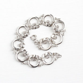 Vintage Sterling Silver Claddagh Irish Bracelet - Estate Hands Clasping Heart with Crown Panel Hallmarked Dublin Ireland Symbolic Jewelry
