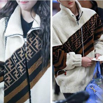 FENDI Winter Fashionable Women Men Casual Long Sleeve Zipper Lambs Wool Cardigan Sweatshirt Jacket Coat
