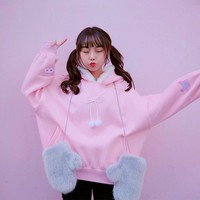 Japanese College Cute Embroidered Bunny Long-sleeved Loose Velor Hooded Sweater SD02029