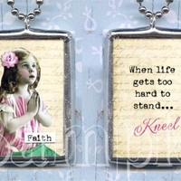 HAVE FAITH glass SOLDeRED pendant ALTEREd by TickleMePinkBoutique