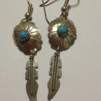 Navajo Turquoise Concho Sterling Earrings Silver Feathers 925 Blue Vintage Genuine Petit Point Stones Tribal Southwestern Jewelry Gift USA