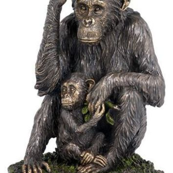 Chimpanzee and Baby Sitting Together Bronze Finish Statue