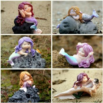 Silicone mold fondant the daughter of the sea decorations aquarium fish tank cute mermaid 6 styles mould for cake decorations