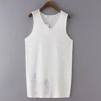 PEAPIX3 Summer Stylish Korean Sexy Knit Hollow Out Ripped Holes Slim Vest T-shirts [4919232452]