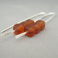 Amber Brown Cube Czech Glass and Sterling Silver Modern Earrings | The Silver Forge Handcrafted Jewellery