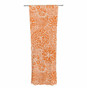"Julia Grifol ""Garden Flowers"" Orange Floral Decorative Sheer Curtain"