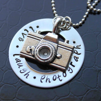 Live Laugh Photograph Hand Stamped Necklace