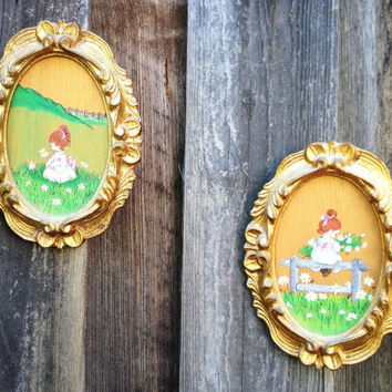 Petite Oval Painted Wood Little Girls, Ornate Gold Frames