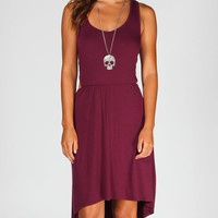 Full Tilt Cut Out Hi Low Tank Dress Burgundy  In Sizes