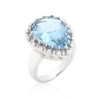 Solitaire Blue Topaz Cocktail Ring, size : 08