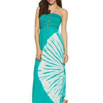 Tie Dye Ruched Maxi Dress