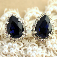 Stud earrings deep blue teardrop - Silver plated post earrings real swarovski rhinestones .