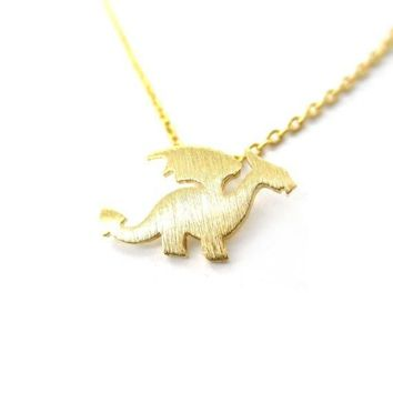 Shuangshuo Fashion Dragon with Wings Choker Necklace for Women Cute Animal Necklaces Pendants Long Necklace Chocker collier N134