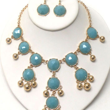Multi Stone Bubble Necklace & Earring Set-3 colors available