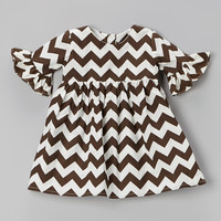 Brown Zigzag Ruffle Dress - Toddler & Girls | something special every day