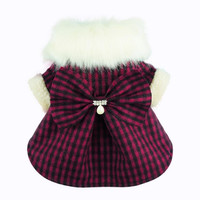 Fitwarm Fashion High Quality Pink Plaid Faux Furred Dog Dress for Pet Coats Bowknot Clothes