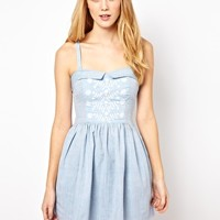 Aimée by People Tree Embroidered Denim Bandeau Skater Dress at asos.com