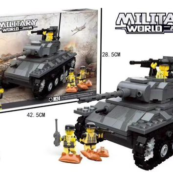 Military SWAT Police Team WW2 Tank Building Blocks army soldier Figures city Enlighten Toys for Children Compatible With Lego