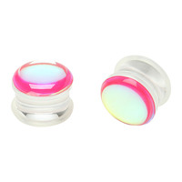 Acrylic Pink Flash Saddle Plugs 2 Pack