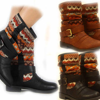 Women's Fashion Low Heel Mid Calf Tribal Round Toe Boot Shoes Size 5 - 10 New