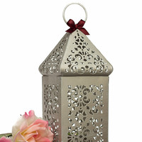 Moroccan Lantern/ Exotic Silver Candle Holder/ Wedding Lanterns/ Moroccan decor/ Metal Pewter distress Candle Holder/ Wedding Lighting