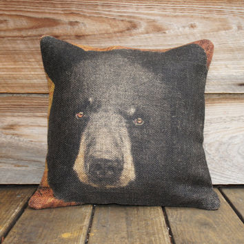 Burlap Pillow Cover of Black Bear, Throw Pillow, Cushion Cover, Rustic Furniture 16x16 Cabin Lodge Mountain