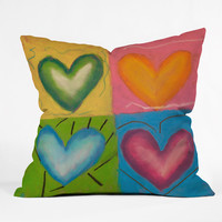 Fresh Artists Four Hearts Throw Pillow