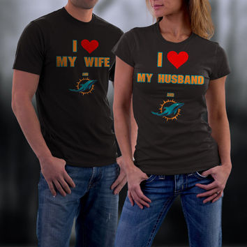 Dolphins,Miami Dolphins Couples Shirt,  Dolphins Matching Couples tshirts,I love my Husband and the Dolphins Shirt,Wedding T Shirts