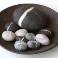Felted Pebble Gift Set in Gray