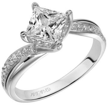 "Artcarved ""Stella"" Princess Cut Twist Diamond Engagement Ring"