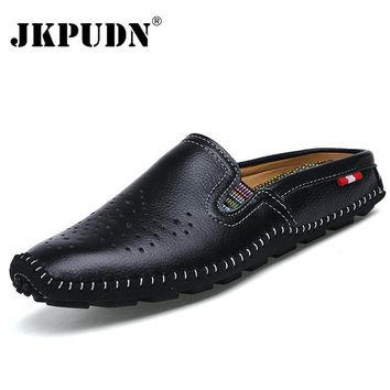 JKPUDUN Genuine Leather Mens Shoes Casual Penny Loafers Luxury Brand 2017 Summer Breathable Half Slippers Slip On Men Flats Boty