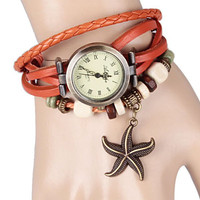 Orange Rope Leather Watch With Starfish Design