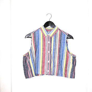 striped CROP top 90s GRUNGE sleeveless blouse multicolored striped cropped tank top medim os