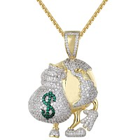Men's World Globe Holding Dollar Money Bag IcedOut Pendant Chain