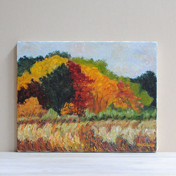 Vintage Original Landscape Painting / Fall Foliage