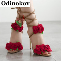 Odinokov Slingbacks Spike Heels Flower Roman Sandals Women Pumps  Ladies Sexy Hollow Lace Up Stiletto High Heels Shoes Woman
