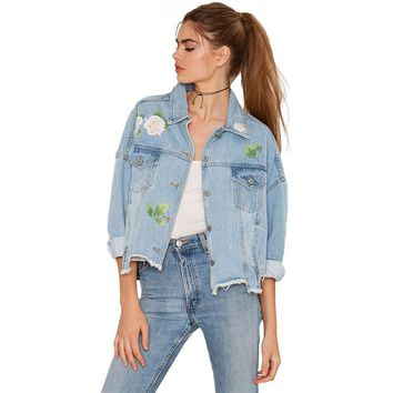 Printed Floral Denim Bomber Jacket