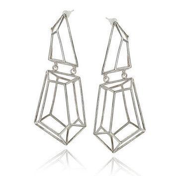 Architectural Structure Geometric Three Dimensional Sterling Silver Earrings